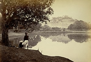 Saras Baug - Parvati Hill from the lake in 1870