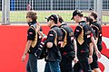 Pastor Maldonado, Charles Pic (Lotus F1) - 2014 British Grand Prix pre-practice.jpg