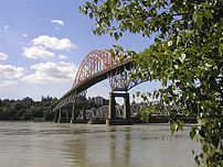 Pattullo Bridge from Surrey on the south side ...