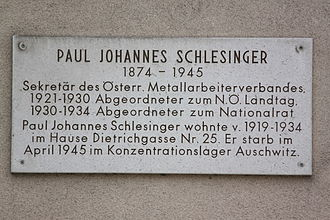 Paul Johannes Schlesinger - Memorial plaque on the building