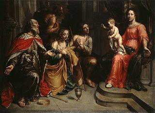 Repentant Sinners in front of the Virgin and Child