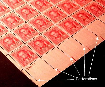 Rows of perforations in a sheet of postage stamps. Perforations US1940 issues-2c.jpg