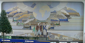 Peter Alma - Mural at Amsterdam Amstel railway station by Peter Alma (1939).