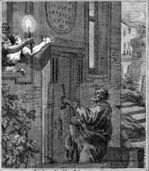 Rhoda (biblical figure) - Peter Returns by Johann Christoph Weigel, 1695. Rhoda is in the upper left of the woodcut.