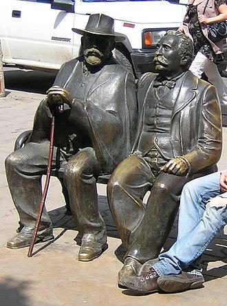 Pencho Slaveykov - Pencho Slaveykov (left sculpture) and his father Petko (right sculpture) as immortalized on Slaveykov Square in Sofia.