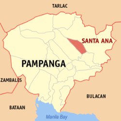 Map of Pampanga showing the location of Santa Ana
