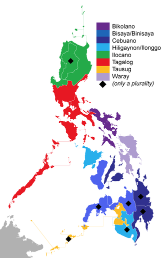The indigenous (native) Philippine languages spoken around the country that have the largest number of speakers in a particular region with Tagalog being the largest. Note that on regions marked with black diamonds, the language with the most number of speakers denotes a minority of the population. Philippine languages per region.png