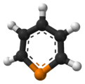 Aromatic ball and stick model of phosphorine