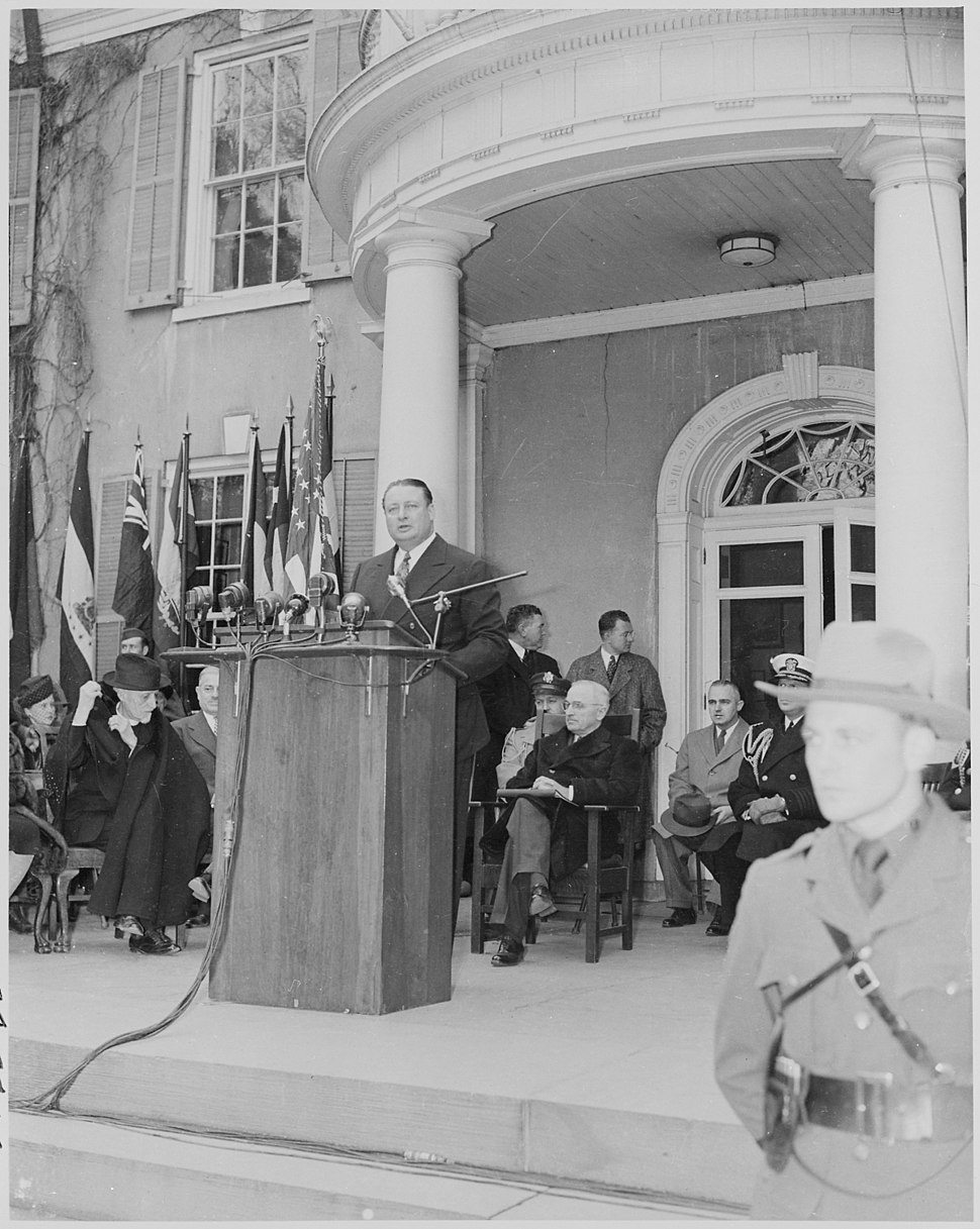 Photograph of Secretary of the Interior Julius Krug delivering an address at the dedication of Franklin D.... - NARA - 199357
