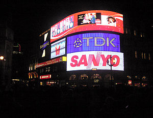 Sanyo - Sanyo logo on neon signs of Piccadilly Circus