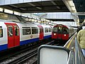 Piccadilly Line trains at Hammersmith D+P station.jpg