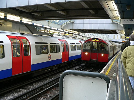 Piccadilly Line trains at Hammersmith D+P station