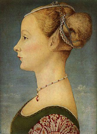 Piero del Pollaiolo - Portrait of a young woman by Piero del Pollaiuolo, at the Museo Poldi Pezzoli, Milan.