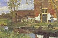Piet Mondriaan - Farm buildings near a canal with small boat - A255 - Piet Mondrian, catalogue raisonné.jpg