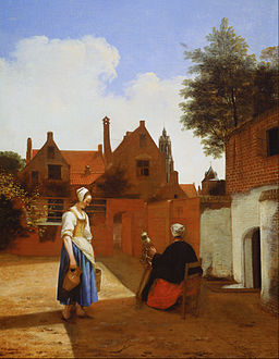 Pieter de Hooch - Courtyard in Delft at Evening- a Woman Spinning - Google Art Project