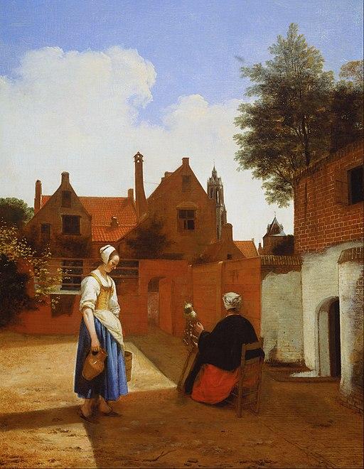 """""""Courtyard in Delft at Evening: a Woman Spinning"""" by Pieter de Hooch"""