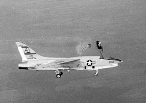 Vought F-8 Crusader - Ejection from a VFP-62 RF-8A in 1963.
