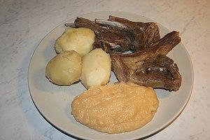 Pinnekjøtt, sheep's meat steamed over branches...