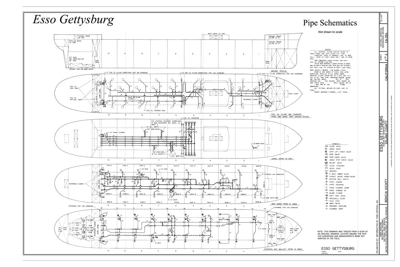 Todd Engineering Schematics Schematic Diagrams Wow File Pipe Esso Gettysburg Suisun Bay Reserve Fleet Commercial Airplane