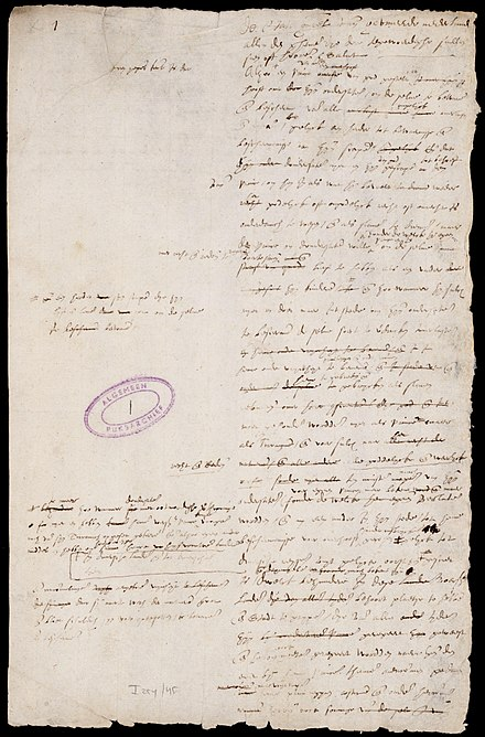 First page of the Act of Abjuration, the Dutch declaration of independence from the Spanish monarchy. It would eventually lead to the 1588 foundation of the Dutch Republic. Plakkaat van Verlatinghe.jpg