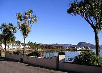 Plockton - The mild climate permits palm-like cabbage trees to grow in Scotland