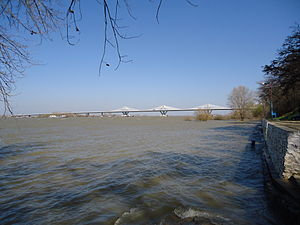 New Europe Bridge - Calafat - Vidin bridge, as seen in March 2013, from the Romanian bank of the Danube