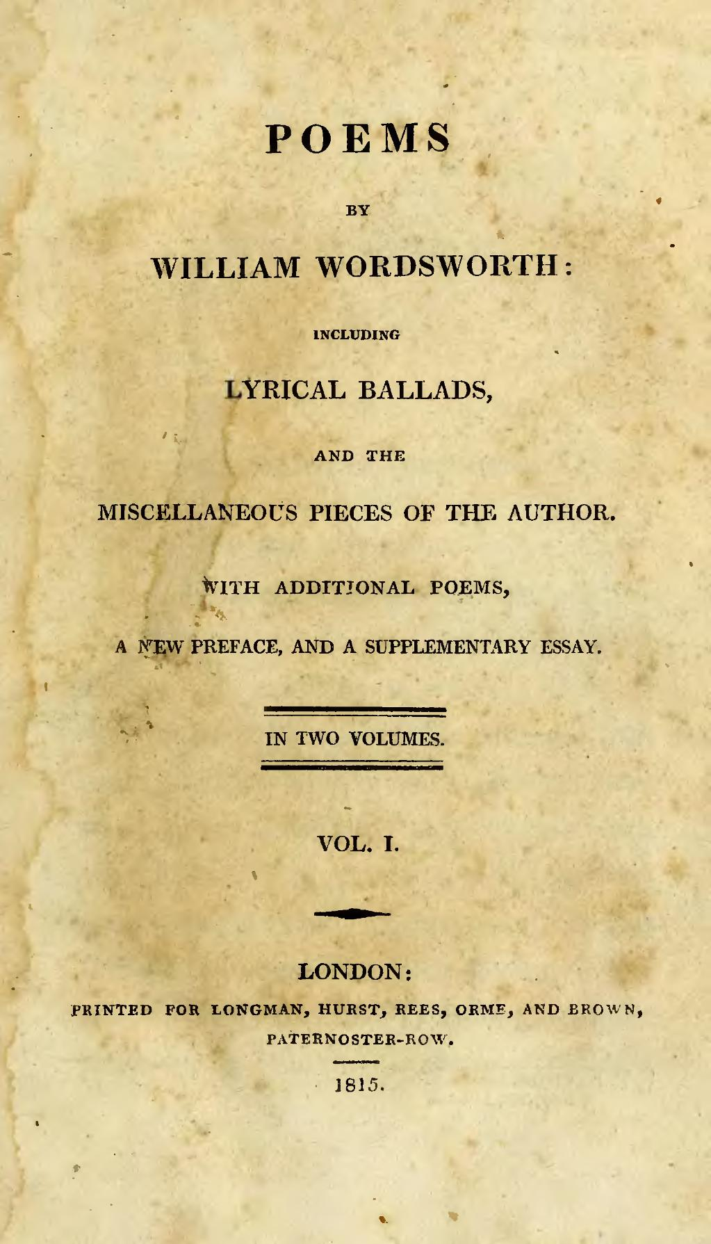 write an essay on the importance of the preface to lyrical ballads