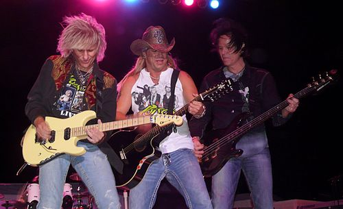 Poison seen here in 2008, were among the most successful acts of the 1980s glam metal era. Poison.JPG