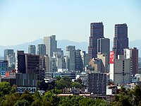 View of Polanco neighborhood with part of Chapultepec in the forefront.