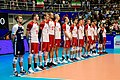 Poland men's national volleyball team in a match against Iran.jpg