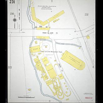 Ponce de Leon amusement park - 1911 Sanborn fire map showing Ponce de Leon amusement park and at top, Ponce de Leon Park (ballpark)