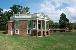 View of the restored Thomas Jefferson's home a...