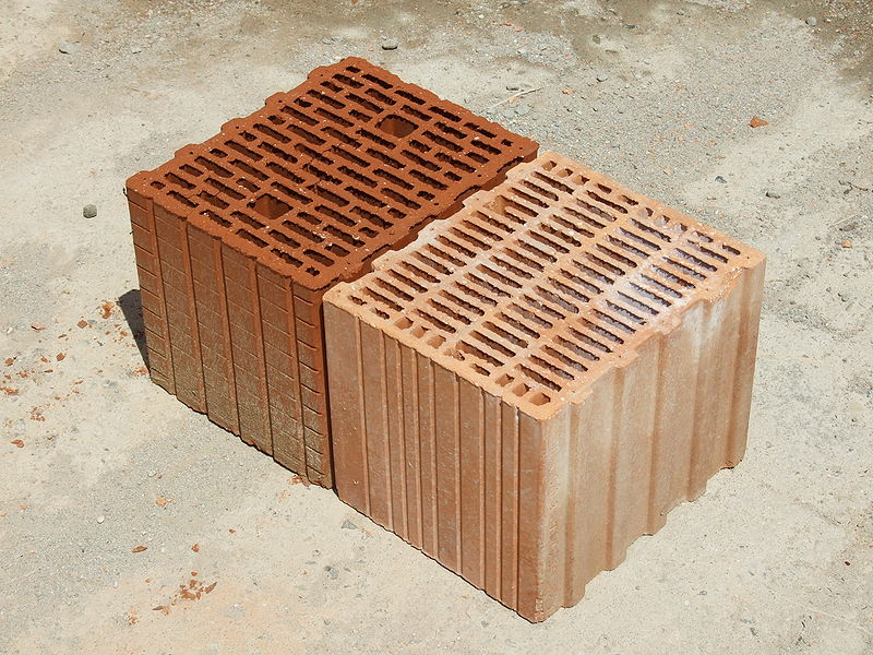 Porotherm style clay block bricks angle