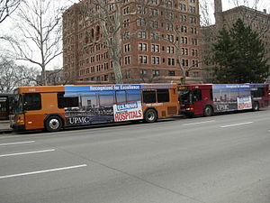 Port Authority of Allegheny County - Two 2004 Gillig Advantage buses, which makes up PAT's current fleet, near the campus of the University of Pittsburgh.