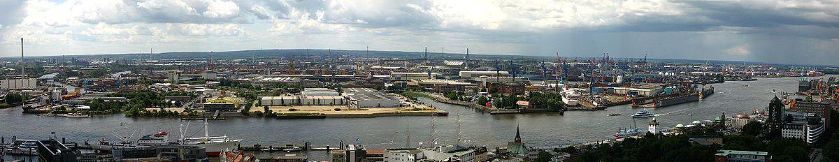Panoramaansicht der Elbe und des Hamburger Hafens von der Kirche St. Michaelis aus