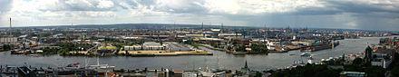 Panorama sur l'Elbe et les ports de Hambourg