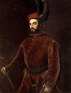 Portrait of Cardinal Ippolito de' Medici in a Hungarian Costume (by Titian) - Palazzo Pitti, Florence.jpg