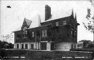 Winchester, Illinois - Postcard: High School, 1907