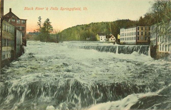 PostcardSpringfieldVTBlackRiverAndFalls1910