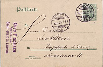 Germania (stamp) - 5 Pfennig postcard, sent from Leipzig to Zoppot (now Sopot in Poland) on 15 June 1905.