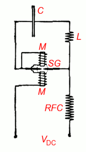 Arc converter - Circuit of basic arc converter, from Poulsen's 1904 paper (labels added).