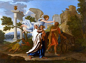 The Flight into Egypt (Poussin painting) - Image: Poussin Fuite en Egypte MBA Lyon