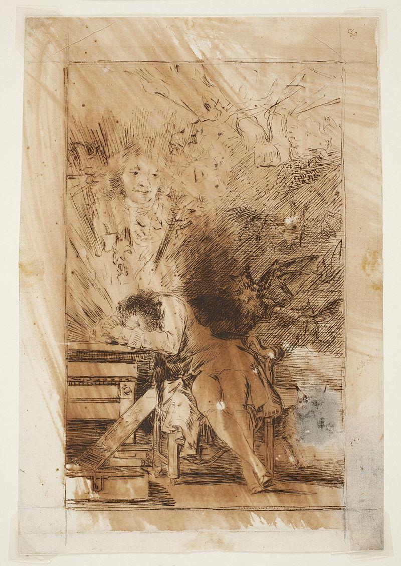 Prado - Los Caprichos - preparatory drawing - No. 43 - El sueño de la razon produce monstruos.jpg