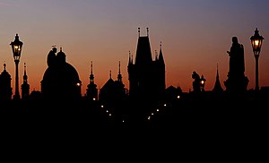 Dawn - Skyline of Prague at dawn