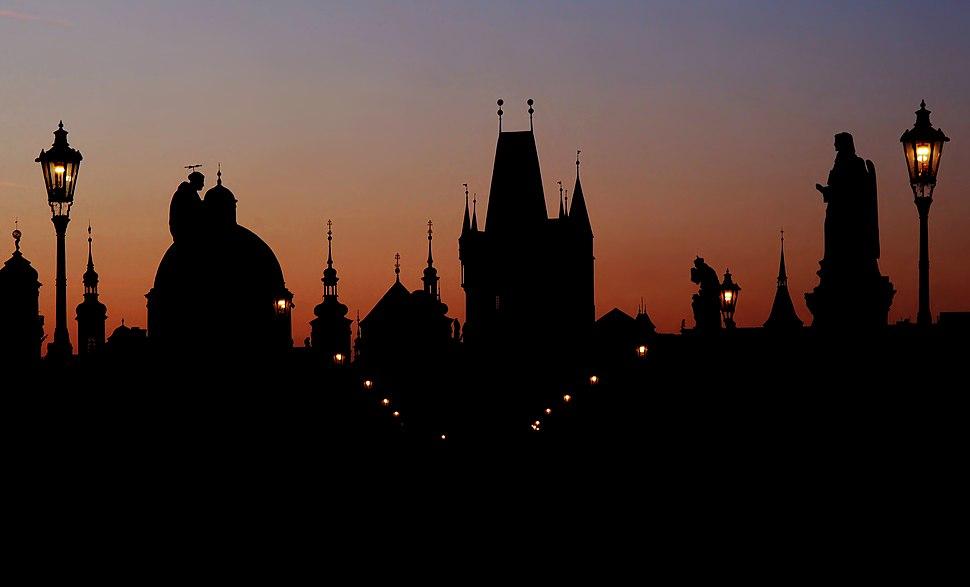 Prague skyline at dawn
