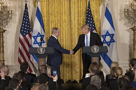 U.S. President Donald Trump and Israeli Prime Minister Benjamin Netanyahu during their press conference in the White House, 2017. President Donald Trump and Prime Minister Benjamin Netanyahu Joint Press Conference, February 15, 2017 (01).jpg