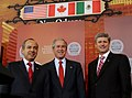 President George W. Bush, Felipe Calderon, and Stephen Harper.jpg