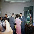 President John F. Kennedy greets the first group of Peace Corps Volunteers going to Tanganyika and Ghana, in the the Oval Office - KN-C18662.jpg