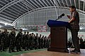 President Rodrigo Duterte announces the increase in salary of soldiers and policemen this August during his speech at the 2nd Infantry Division headquarters in Camp Capinpin.jpg