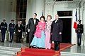 President Ronald Reagan and Nancy Reagan greet President Francois Mitterrand and Danielle Mitterrand of France for the State Dinner at the North Portico of the White House.jpg